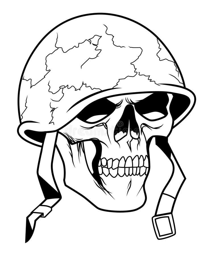 Череп в воинском шлеме иллюстрация вектора