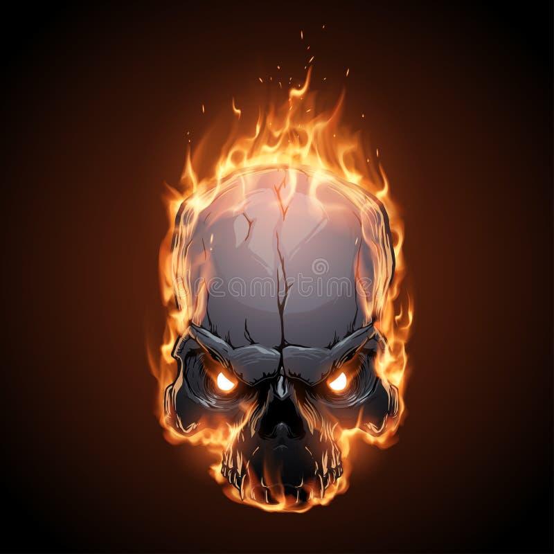 Череп в иллюстрации огня иллюстрация штока
