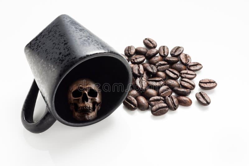 Череп в кофейной чашке стоковые изображения rf