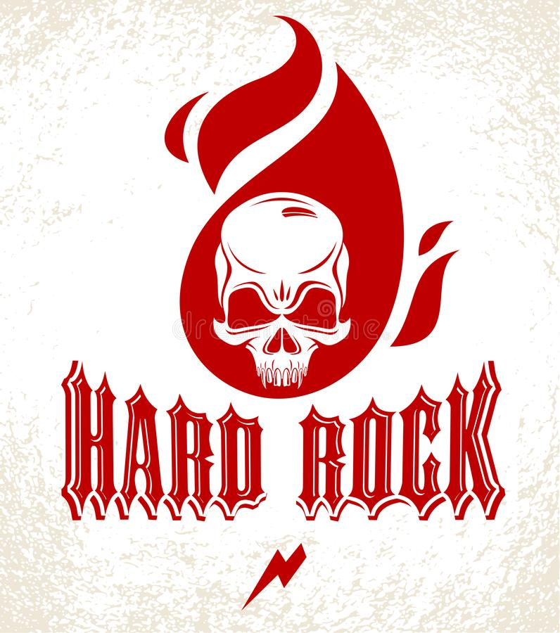 Череп в логотипе вектора музыки тяжелого рока пламен или эмблеме, агрессивном ярлыке рок-н-ролла умерших черепа главном горящем,  иллюстрация штока