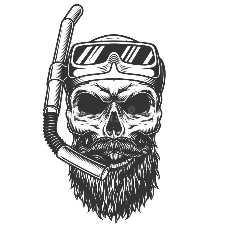 Череп в маске подныривания иллюстрация вектора