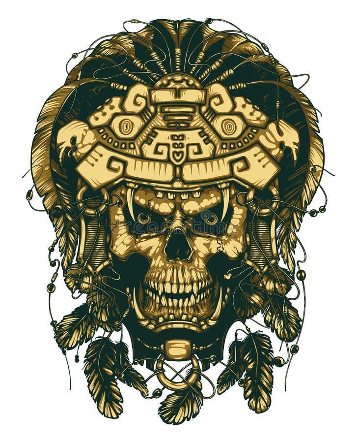 Череп в маске ягуара Ацтекский ратник бесплатная иллюстрация