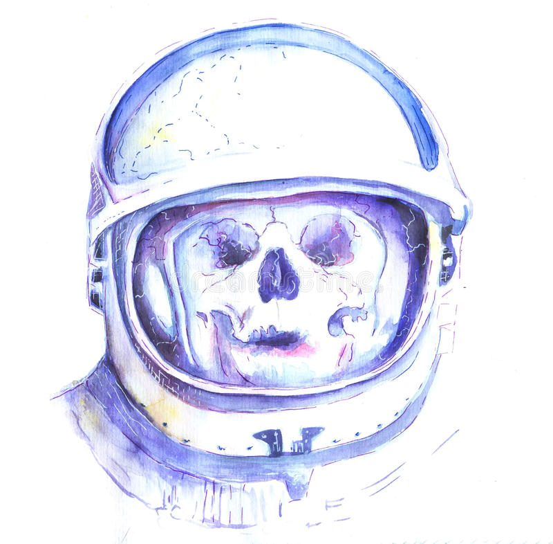 Череп в шлеме космоса иллюстрация штока