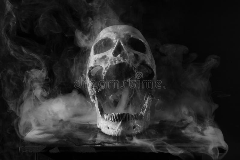Череп в дыме стоковые изображения