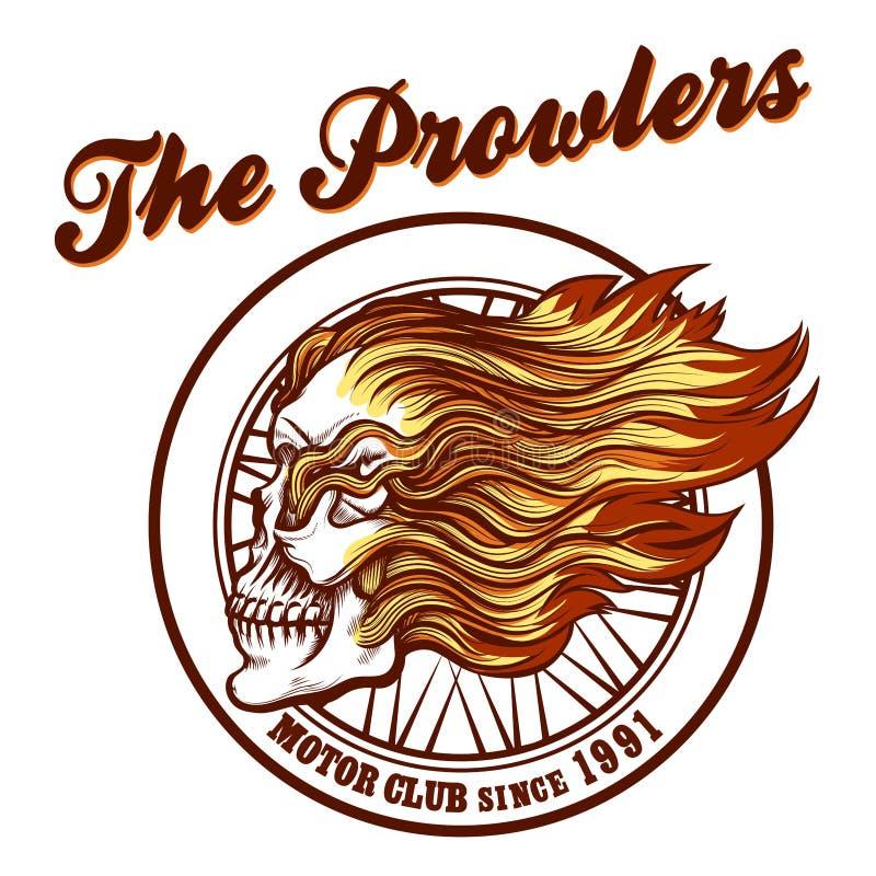 Череп в эмблеме клуба велосипедиста пламен иллюстрация штока