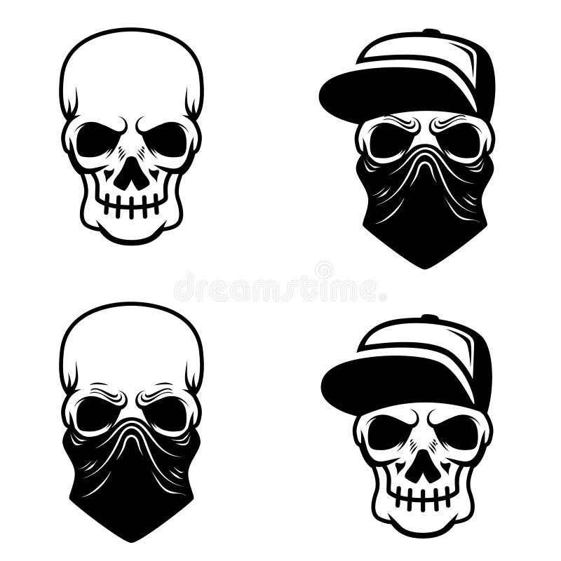 Череп гангстера с бейсбольной кепкой и bandana Конструируйте элемент для логотипа, ярлыка, эмблемы, знака, футболки иллюстрация вектора