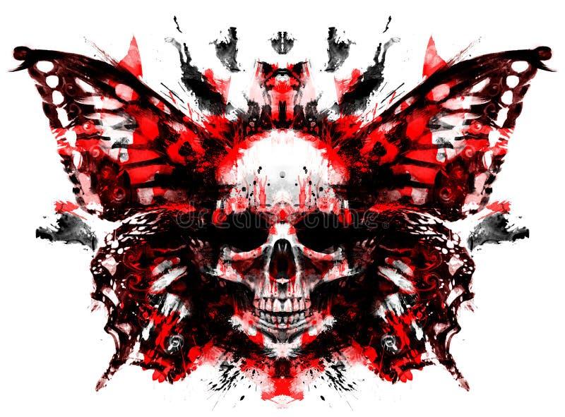 Череп демона с бабочкой иллюстрация штока