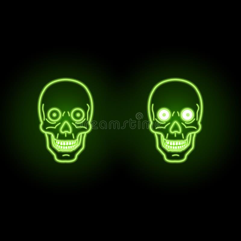 Череп зеленого цвета Ufo с неоновым влиянием на темной предпосылке стоковая фотография