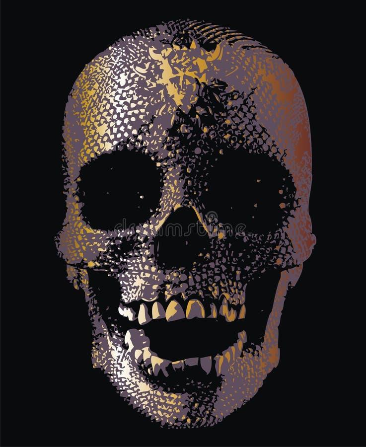 череп золота иллюстрация вектора