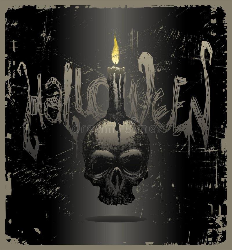 череп иллюстрации halloween свечки иллюстрация вектора