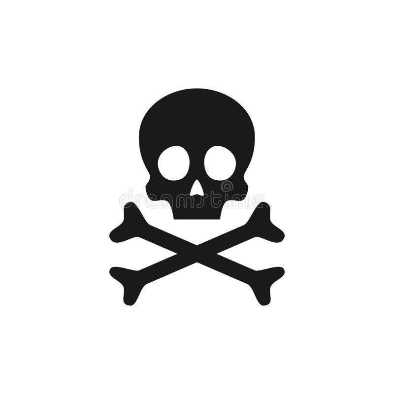 Череп и икона перекрещенных костей Предупредительный знак отравы также вектор иллюстрации притяжки corel иллюстрация штока
