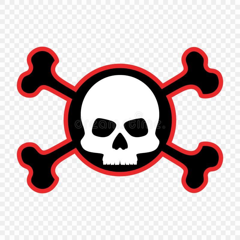 Череп и кости, значок Концепция предупреждения смертной опасности Метка пирата вектор иллюстрация штока