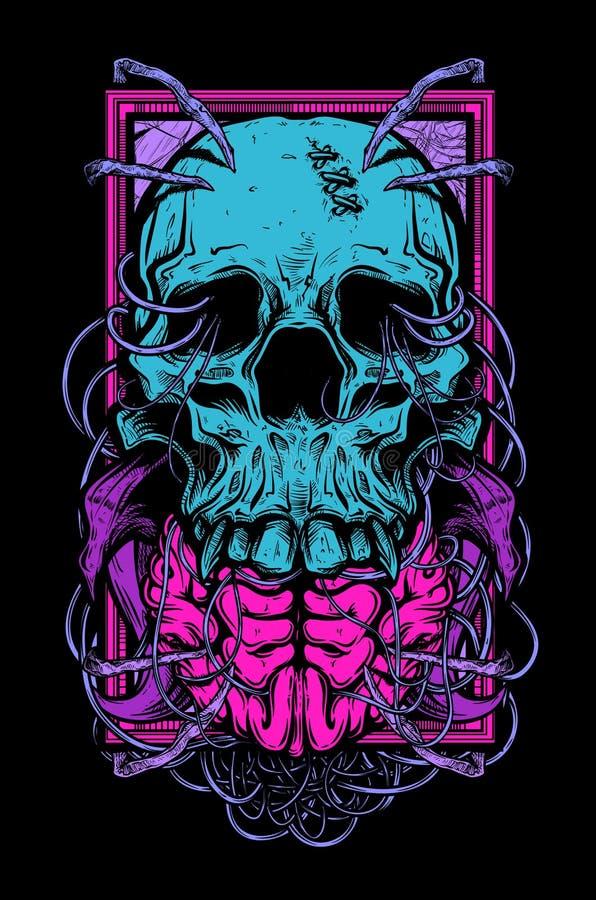 Череп и мозг иллюстрация вектора