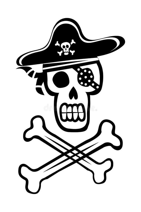 Череп и перекрещенные кости пирата иллюстрация вектора