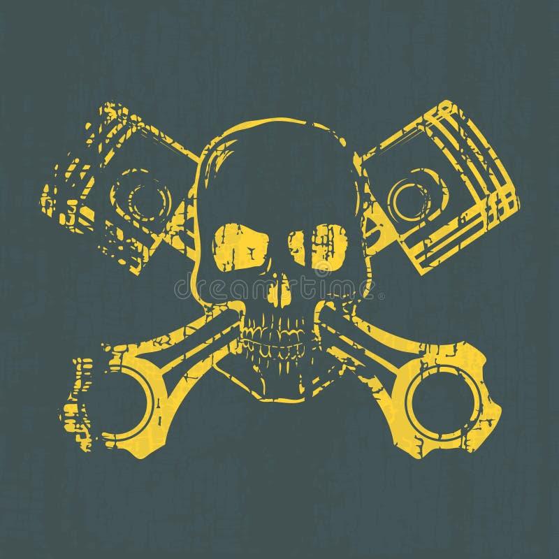 Череп и поршени График футболки вектор бесплатная иллюстрация