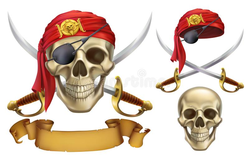 Череп и сабли эмблема пирата иконы иконы цвета картона установили вектор бирок 3 иллюстрация штока