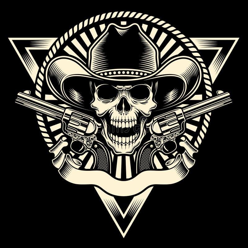 Череп ковбоя с револьвером иллюстрация штока