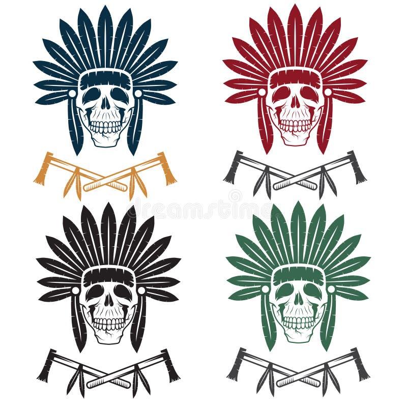 Череп коренного американца главный в племенном головном уборе с toma иллюстрация штока