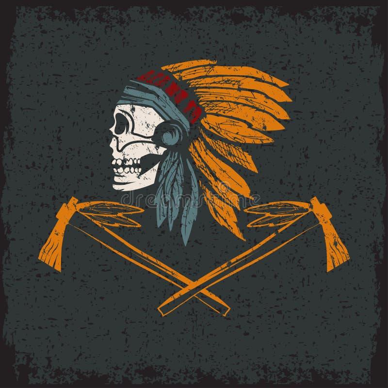 Череп коренного американца главный в племенном головном уборе иллюстрация штока