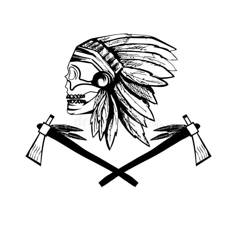Череп коренного американца главный в племенном головном уборе иллюстрация вектора