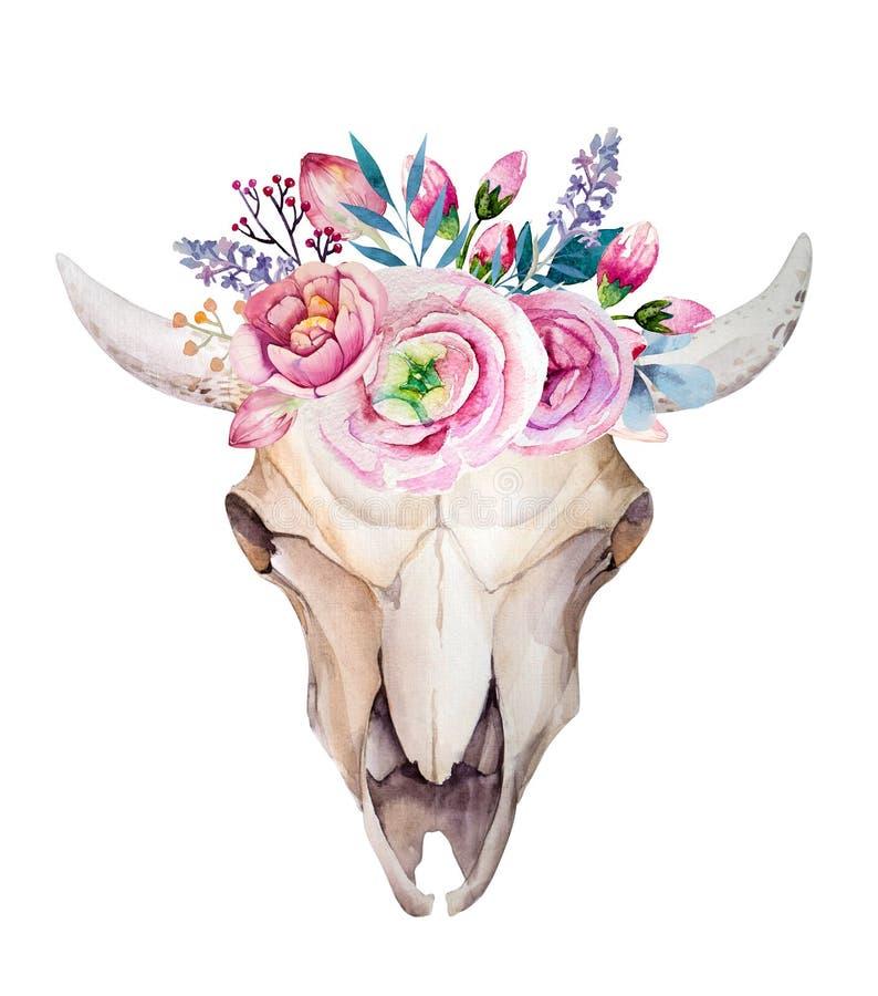 Череп коровы акварели с цветками и пер