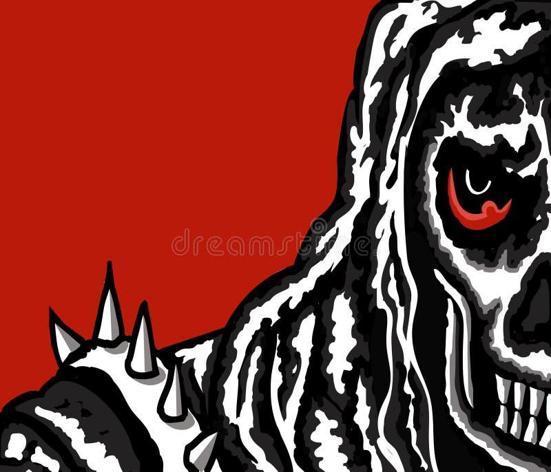 череп красного цвета предпосылки иллюстрация штока