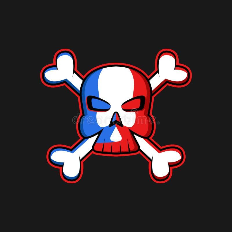 Череп логотипа Веселого Роджера с перекрещенными костями, угрожая флагом пирата символа, печатью футболки или модель-макетом эмбл иллюстрация вектора