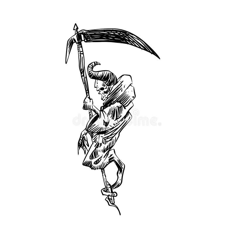 Череп мрачного жнеца с серпом бесплатная иллюстрация