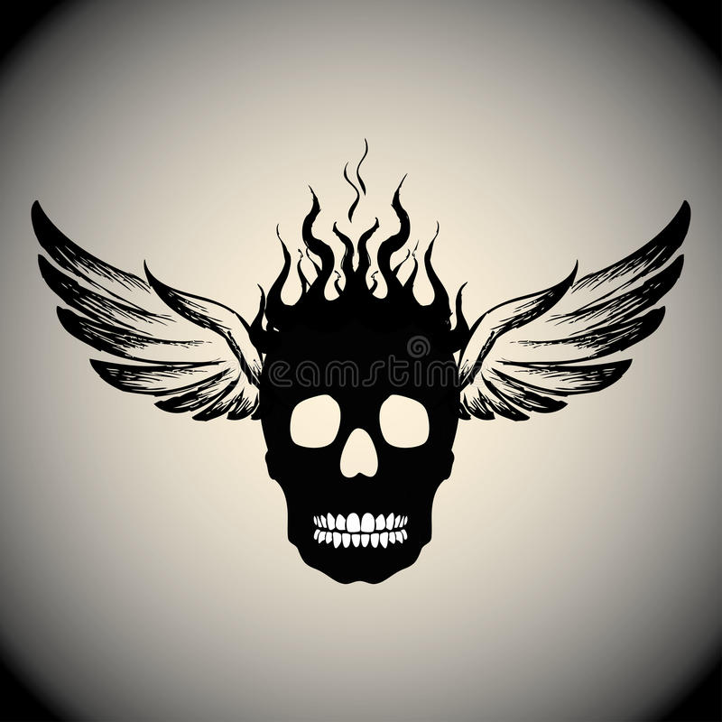 Череп на огне с пламенами и крылами иллюстрация штока