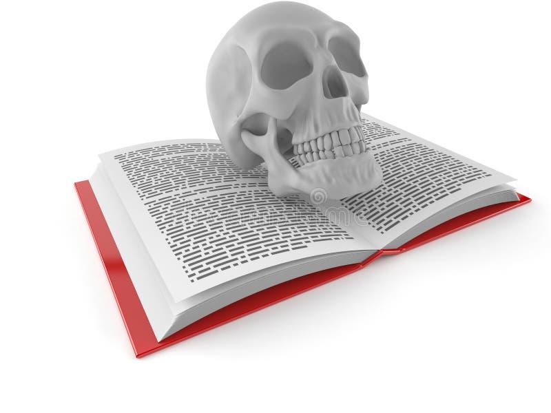 Череп на открытой книге иллюстрация вектора