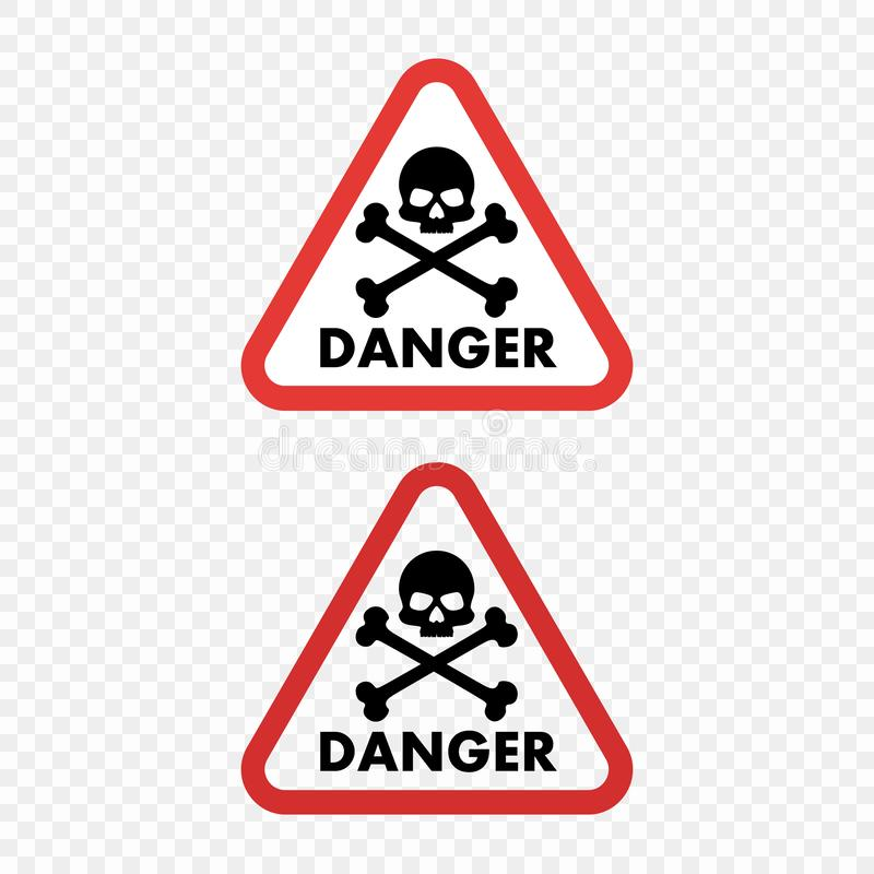 Череп опасности предупредительного знака на изолированной прозрачной предпосылке Элемент вектора для вашей конструкции бесплатная иллюстрация