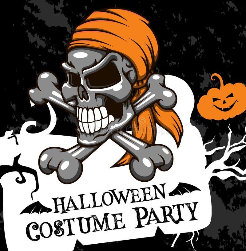 Череп партии костюма плаката вектора хеллоуина иллюстрация вектора