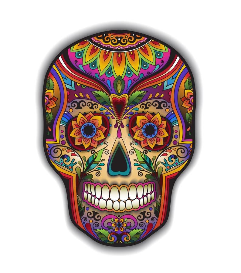 Череп печати мексиканский традиционный для футболки иллюстрация штока