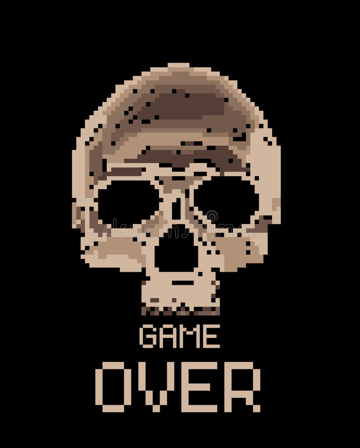 череп пиксела иллюстрация вектора