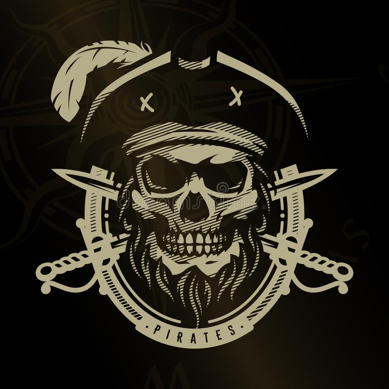 Череп пирата в винтажном стиле Каркасная голова и пересеченные шпаги на темной предпосылке иллюстрация вектора