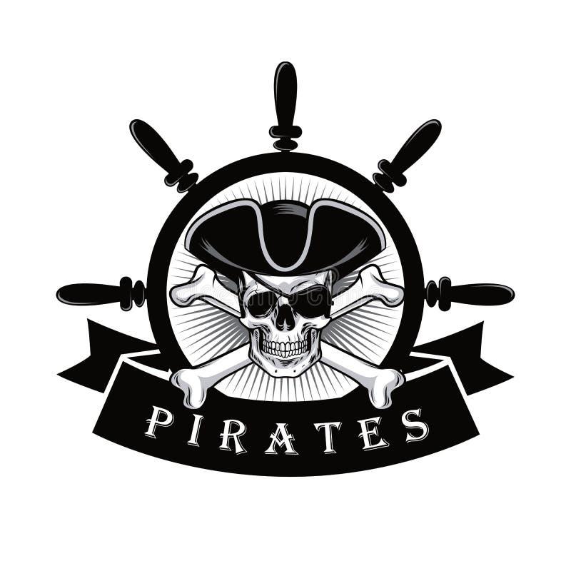 Череп пирата с иллюстрацией вектора дизайна логотипа кормила Eyepatch и корабля иллюстрация вектора