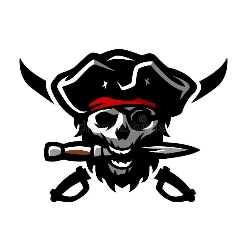 Череп пирата, с кинжалом в его зубах иллюстрация штока