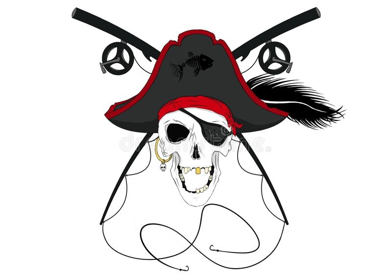 Череп пирата с пересеченными удя поляками w/Plume цвета Пре стоковая фотография rf