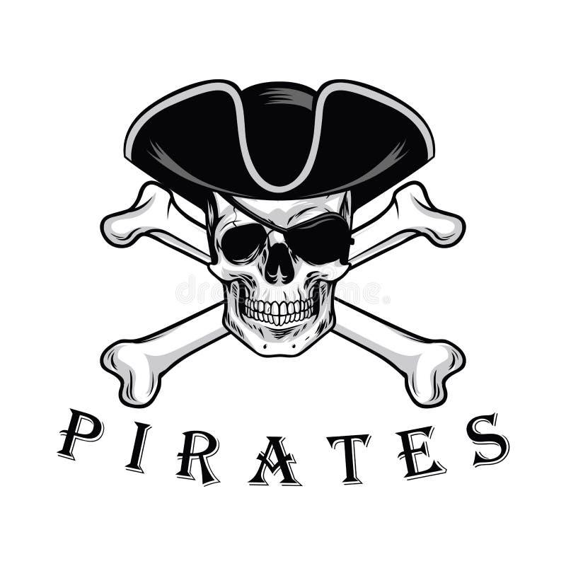 Череп пирата с шляпой косточек креста и иллюстрацией вектора дизайна логотипа Eyepatch иллюстрация вектора
