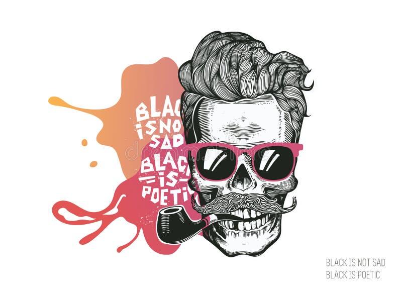 Череп Силуэт битника с стеклами усика и трубой табака на красочной предпосылке выплеска Иллюстрация вектора в современном en иллюстрация вектора