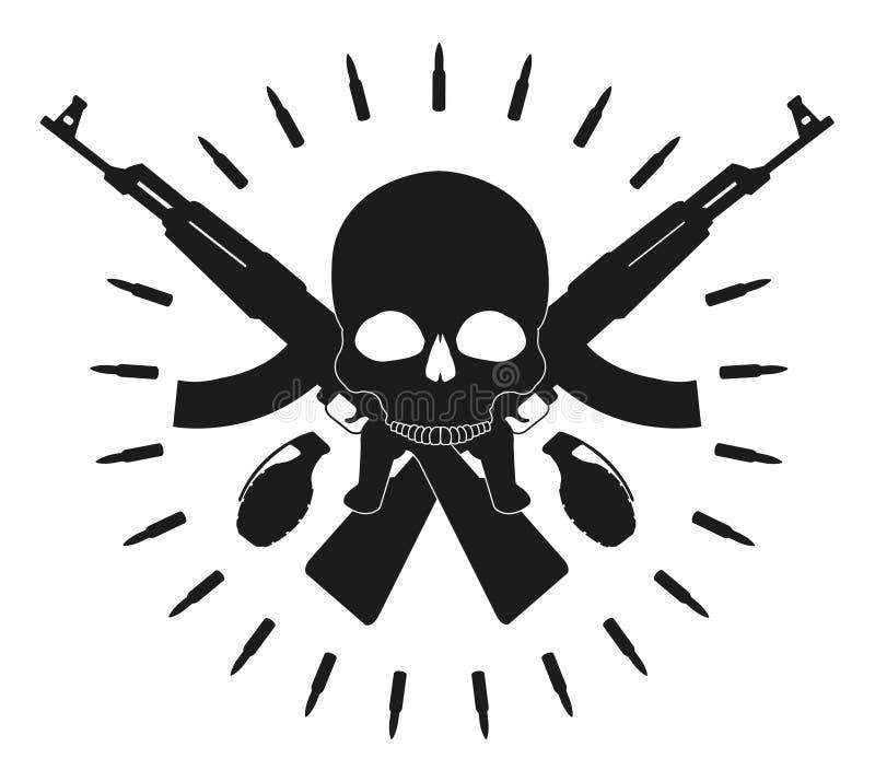 Череп с гранатами и пересеченными штурмовыми винтовками иллюстрация штока