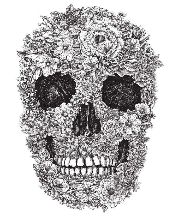 Череп сделанный из иллюстрации вектора цветков стоковое изображение