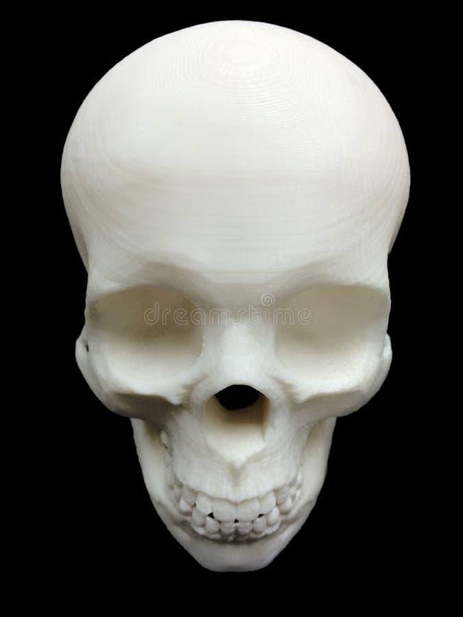 Череп сделанный принтером 3D с черной предпосылкой стоковое фото rf