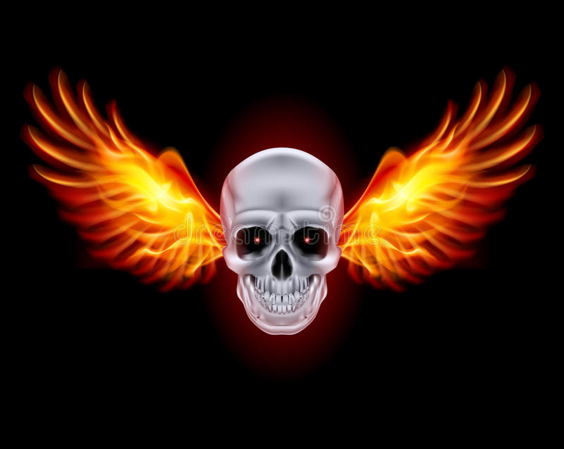 Череп с крылами огня. иллюстрация штока