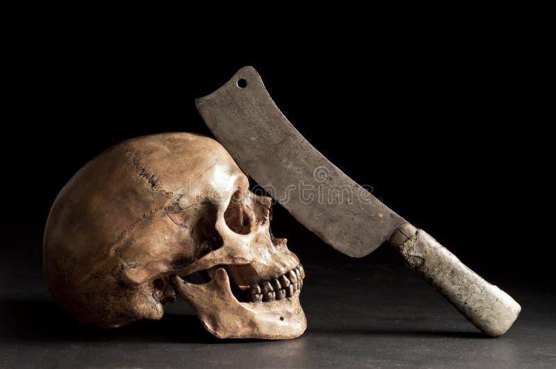 Череп с старым ножом стоковые фотографии rf