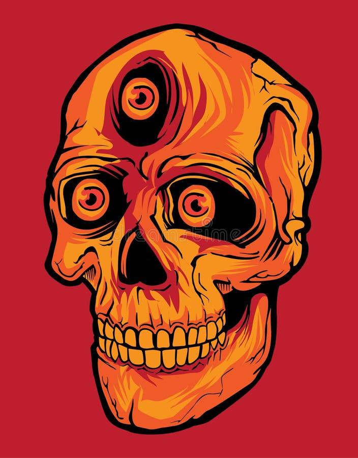 Череп ужаса головной с 3 глазами в темноте - оранжевой предпосылке иллюстрация штока