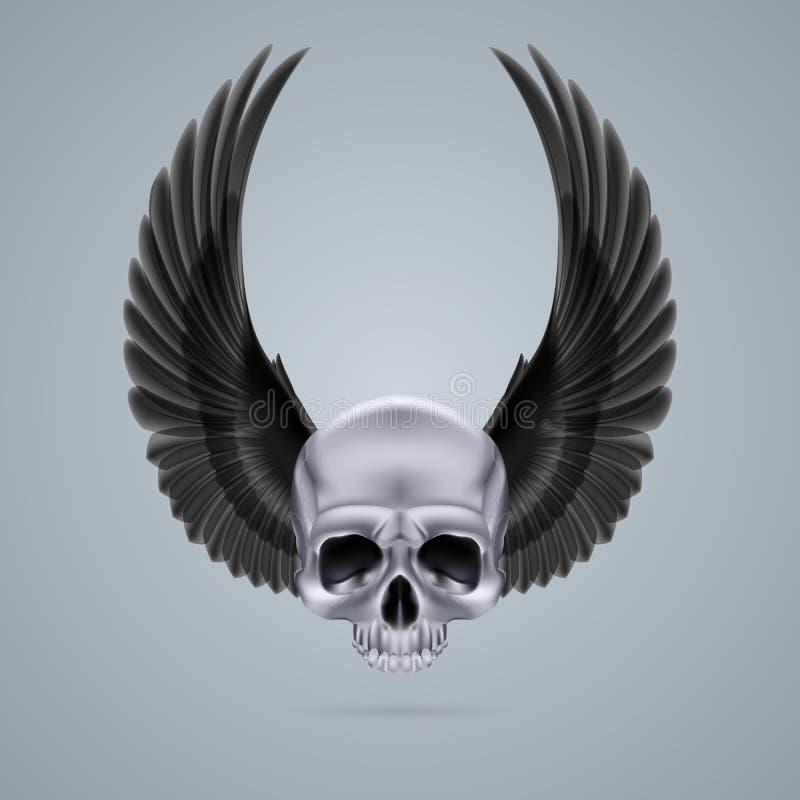 Череп хрома металла с 2 крылами вверх иллюстрация штока