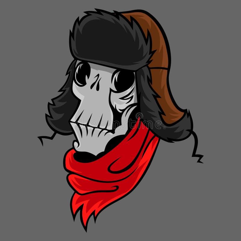 Череп шаржа в шляпе зимы бесплатная иллюстрация