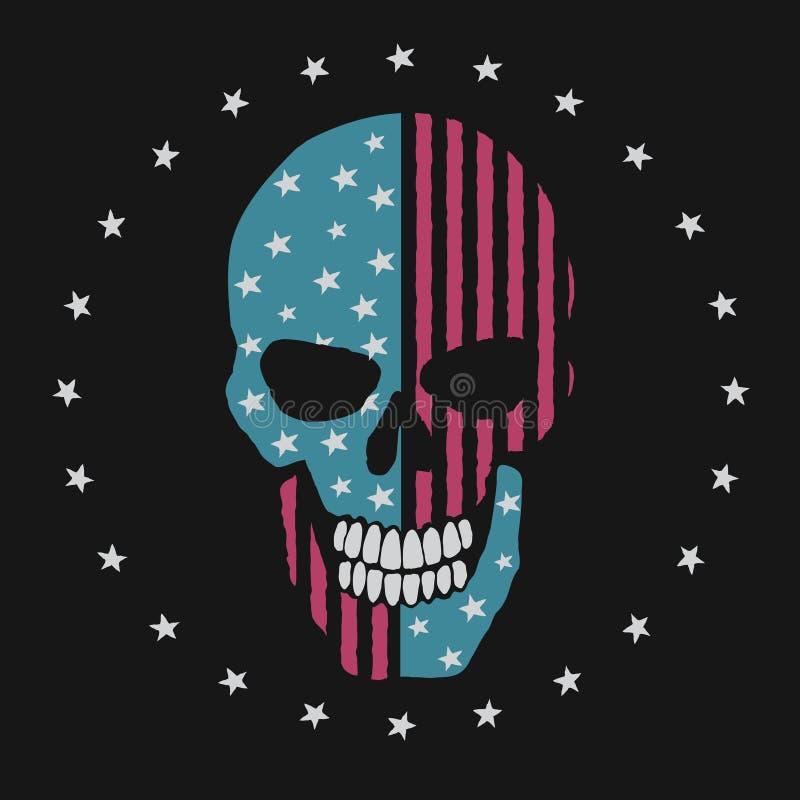 Череп любит американский флаг иллюстрация штока