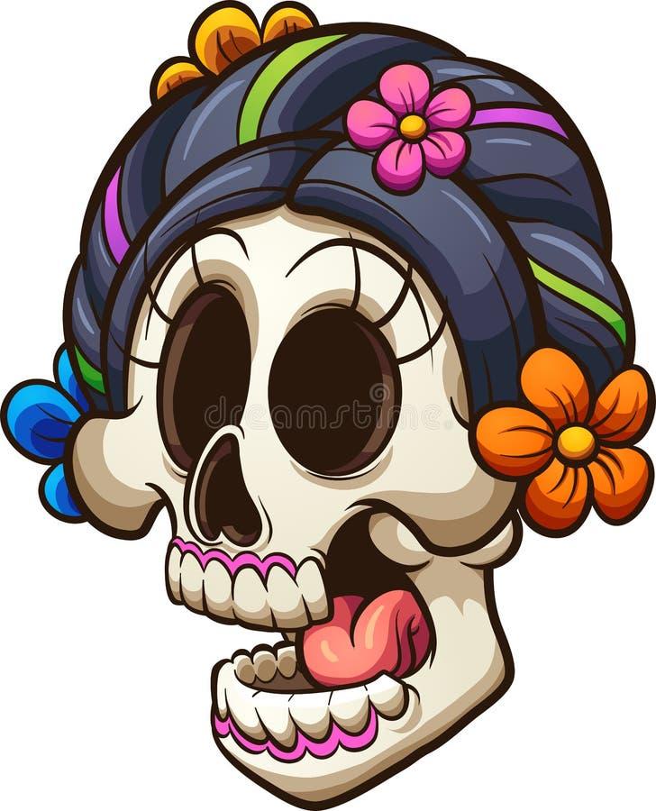 Череп catrina традиционного шаржа мексиканский иллюстрация штока